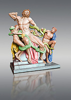 Painted colour verion of a Statue group identified as as the Laocoon described by Pliny as a masterpiece made by the sculptors of Rhodes. The Laocoon depicts a scene from the Trojan War in which Athena and Poseidon sent two great serpants to wrap themselves around Laocoon and his two sons to kill them. Circa 40-30BC, Pope Clement XIV coillection, Vatican Museum Rome, Italy,  grey art background