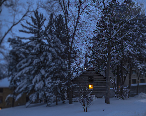 Feb. 2, 2015; Log Chapel in the dawn twilight.  (Photo by Matt Cashore/University of Notre Dame)