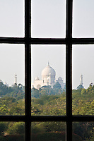 View of the Taj Mahal from a window at the Oberoi Amarvilas.<br /> (Photo by Matt Considine - Images of Asia Collection)