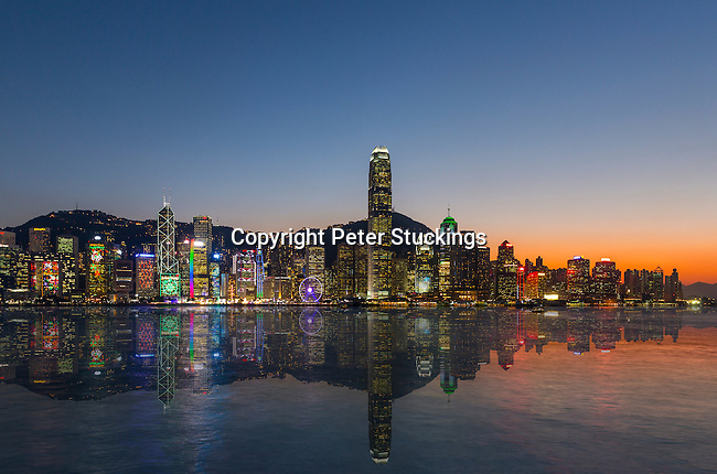 Victoria Harbour panorama at sunset, Hong Kong