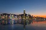 Victoria Harbour panorama at sunset, Hong Kong