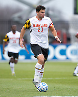 Jake Pace (20) of Maryland carries the ball upfield during the ACC Finals at the Maryland SoccerPlex in Boyds, MD.  Maryland defeated Virginia, 1-0, to win the title.