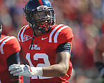 Ole Miss' Donte Moncrief (12) celebrates his second quarter touchdown reception  vs. Arkansas at Vaught-Hemingway Stadium in Oxford, Miss. on Saturday, October 22, 2011. .