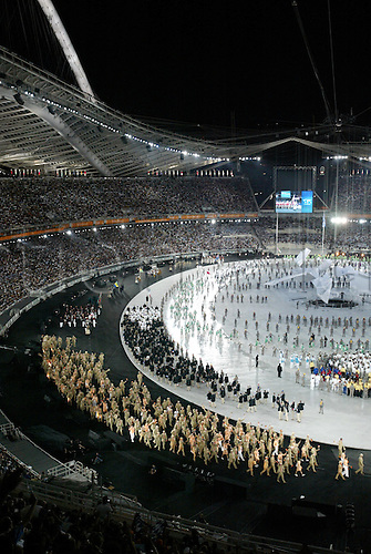 13.08.2004: Athens, Greece.  Athletes from Germany parade around the stadium during the Opening Ceremony of 2004 Olympic Games held in the Olympic Stadium, Athens, Greece.