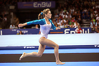 Sept 2, 2007; Stuttgart, Germany; Elena Zamolodchikova of Russia runs full speed toward vault in women's artistic gymnastics team competition at 2007 World Championships. Elena helped Russia to place fourth in team. Photo by Tom Theobald. Copyright 2007 by Tom Theobald