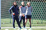 14 October 2014: U.S. goalkeepers. From left: Hope Solo, Ashlyn Harris, and Alyssa Naeher. The United States Women's National Team held a training session on the stadium field at Swope Park Soccer Village in Kansas City, Missouri in preparation for the CONCACAF Women's World Cup Qualifying Tournament for the 2015 Women's World Cup in Canada.