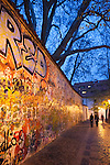 The famous John Lennon Wall covered in graffiti left by locals and tourists, Prague, Czech Republic, Europe