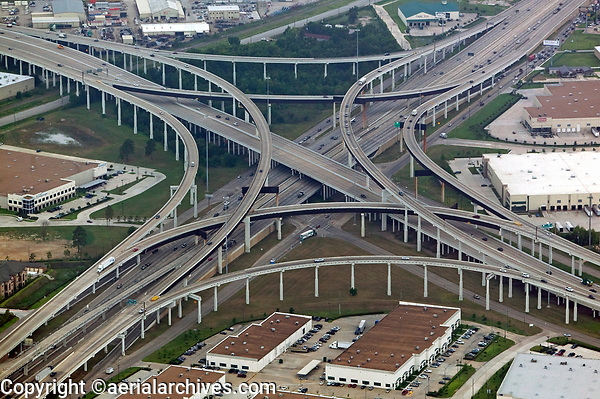 aerial photograph of Interstate 10 and Interstate 610 interchange, Houston, Texas