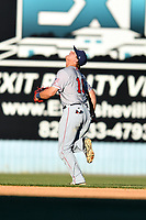 Hagerstown Suns shortstop Sheldon Neuse (16) pursues a fly ball during a game against the  Asheville Tourists at McCormick Field on May 13, 2017 in Asheville, North Carolina. The Suns defeated the Tourists 9-5. (Tony Farlow/Four Seam Images)