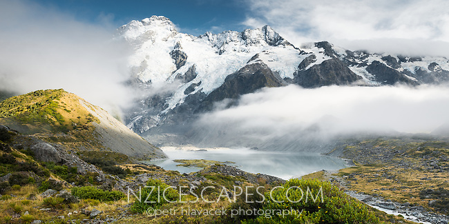 Mueller Lake with Mount Sefton and Footstool, Aoraki, Mt. Cook National Park, Mackenzie Country, UNESCO World Heritage Area, New Zealand