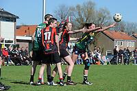 KORFBAL: REDUZUM: Sportpark Reduzum, 28-04-2013, Veld Hoofdklasse A, KV Mid Fryslân-LDODK AH Gorredijk, Eindstand 13-19, André Zwart (#15 | LDODK), Sjoerd Pool (#17 | MF), Nynke Sinnema (#5 | MF), Hilde de Boer (#10 | LDODK), ©foto Martin de Jong