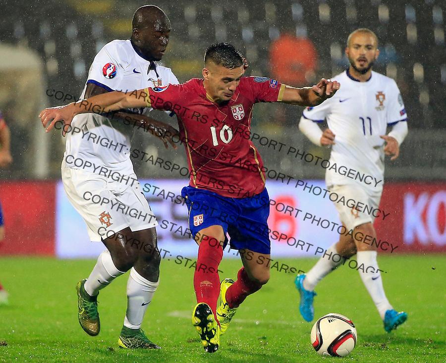 Fudbal, kvalifikacije za UEFA EURO 2016 qualifiers-Qualifying round - Group I<br /> Srbija v Portugal<br /> Dusan Tadic (C) and Danilo (L)<br /> Beograd, 11.10.2015.<br /> foto: Srdjan Stevanovic/Starsportphoto &copy;