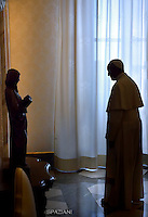 Pope Francis private audience Apotolic Palace at the Vatican . 16 May 2016