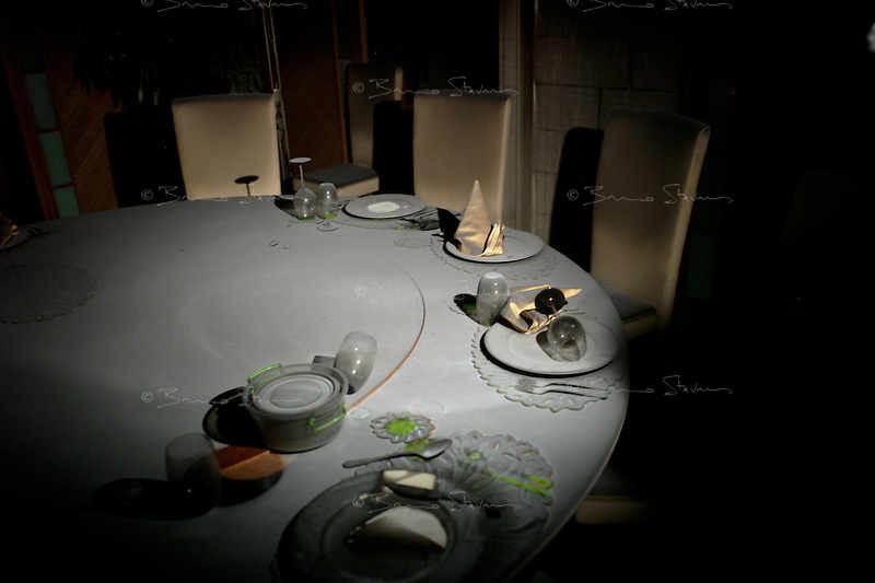 Tripoli, Libya, August 26, 2011.Khaddafi personal quarters in the Bab Aziziya  compound: his dinner table is still set for a meal the former dictator won't enjoy here....