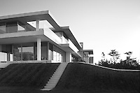 Exterior of the ultra modern holiday home of Kelly Behun and her family in the Hamptons, New York