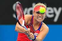 Angelique Kerber of Germany hits a backhand to Madison Keys of U.S. during their semi-final match at the Sydney International tennis tournament, Jan. 9, 2014.  Daniel Munoz/Viewpress IMAGE RESTRICTED TO EDITORIAL USE ONLY