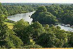 River Thames from Richmond Hill looking upstream and south towards Twickenham. Richmond Hill Surrey Greater London UK