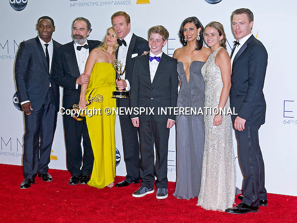 """HOMELAND"" CAST - 64TH PRIME TIME EMMY AWARDS.Nokia Theatre Live, Los Angelees_23/09/2012.Mandatory Credit Photo: ©Dias/NEWSPIX INTERNATIONAL..**ALL FEES PAYABLE TO: ""NEWSPIX INTERNATIONAL""**..IMMEDIATE CONFIRMATION OF USAGE REQUIRED:.Newspix International, 31 Chinnery Hill, Bishop's Stortford, ENGLAND CM23 3PS.Tel:+441279 324672  ; Fax: +441279656877.Mobile:  07775681153.e-mail: info@newspixinternational.co.uk"