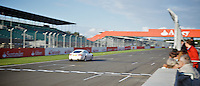 Jaguar XKR on the home straight at Silverstone circuit