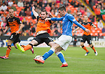 Dundee United v St Johnstone...27.09.14  SPFL<br /> Michael O'Halloran's shot is cleared off the line<br /> Picture by Graeme Hart.<br /> Copyright Perthshire Picture Agency<br /> Tel: 01738 623350  Mobile: 07990 594431