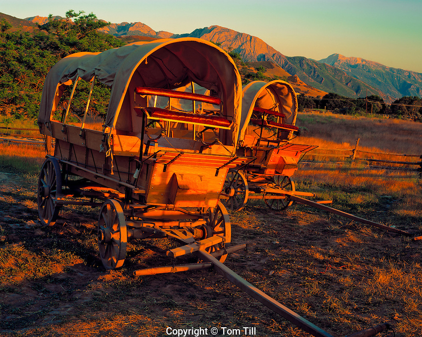 Covered Wagons & Wasatch Mountains, Emigration Canyon, Mormon Trail Pioneer Trails State Park, Salt Lake City, Utah