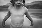 Female child close up on beach