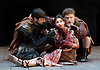 Titus Andronicus by William Shakespeare at Shakespeare's Globe Theatre, London, Great Britain, Press Photocall. 30th April 2014 <br /> <br /> Indira Varma as Tamora<br /> <br /> Obi Abili as Aaron<br /> <br /> Samuel Edward Cook <br /> <br /> Brian Martin <br /> <br /> William Houston as Titus<br /> <br /> Flora Spencer-Longhurst as Lavinia<br /> <br /> Dyfan Dwyfor as Lucius