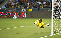 CARSON, CA – May 7, 2011: New York Red Bulls goalie Bouna Coundoul (18) blocks a goal shot during the match between LA Galaxy and New York Red Bull at the Home Depot Center, May 7, 2011 in Carson, California. Final score LA Galaxy 1, New York Red Bull 1.