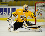 29 December 2007: Quinnipiac University Bobcats' goaltender Bud Fisher, a Junior from Peterborough, Ontario, warms up prior to a game against the Western Michigan University Broncos at Gutterson Fieldhouse in Burlington, Vermont. The Bobcats defeated the Broncos 2-1 in the first game of the Sheraton/TD Banknorth Catamount Cup Tournament...Mandatory Photo Credit: Ed Wolfstein Photo