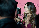 Victoria's Secret Angel Lily Aldridge speaks to press on the Pink Carpet before Tuesday's screening party for the 2011 Victoria's Secret Fashion Show.