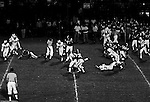 Bethel Park PA:  Defensive play with Jim Dingeldine 73 and Mike Stewart 11 tackling the Highlander quarterback - 1970. Others in the photo; Chip Huggins 32, Dennis Franks 66, Gary Biro 81, Joe Barrett 75, Don Troup 51, and Jim Dingeldine 73. After Scott Streiner was injuried on the first play, the team rallied and came up just short of winning the game when they missed a two-point conversion late in the 4th quarter (7-6).  Defensive unit was one of the best in Bethel Park history only allowing a little over 7 points a game.