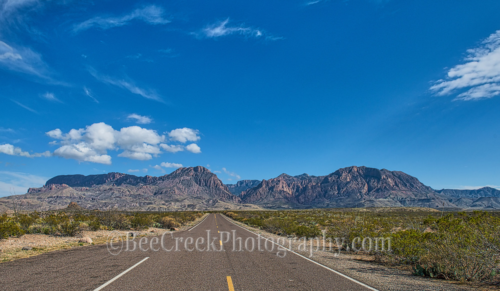 A view down the road to the Chiso Mountains and the Window view from the other side on the Ross Maxwell Scenic Drive in Big Bend National Park.
