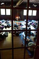 Shivasana meditation at a yoga class at Prana Yoga Center in Geneva, IL.