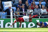Telusa Veainu of Tonga dives for the try-line but the score is soon ruled out by a foot in touch. Rugby World Cup Pool C match between Tonga and Namibia on September 29, 2015 at Sandy Park in Exeter, England. Photo by: Patrick Khachfe / Onside Images