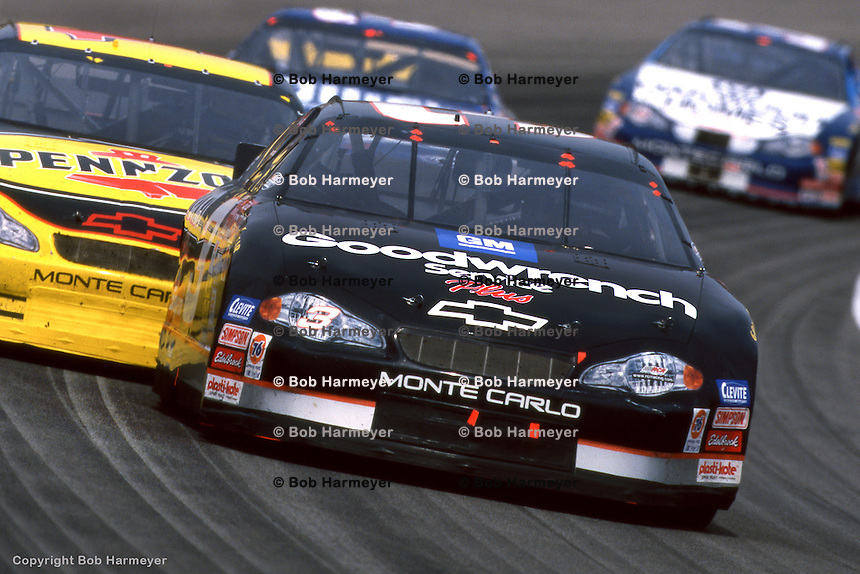 INDIANAPOLIS, IN - AUGUST 5: Dale Earnhardt leads a group of cars during the Brickyard 400 on August 5, 2000, at the Indianapolis Motor Speedway in Indianapolis, Indiana.
