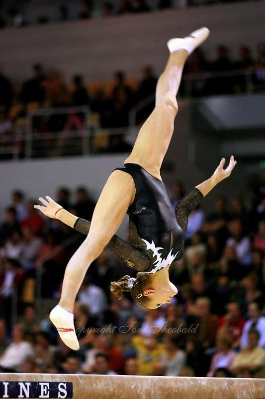 Oct 18, 2006; Aarhus, Denmark; Dariya Zgoba performs on balance beam during women's team final competition at 2006 World Championships Artistic Gymnastics.