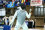 11 February 2017: Duke's Jonathan Schwartzman reacts during his Saber match. The Duke University Blue Devils hosted the Boston College Eagles at Card Gym in Durham, North Carolina in a 2017 College Men's Fencing match. Duke won the dual match 18-9 overall, 9-0 Foil, and 6-3 Saber. Boston College won Epee 6-3.