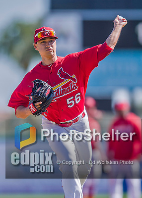 6 March 2016: St. Louis Cardinals pitcher Marco Gonzales warms up prior to a Spring Training pre-season game against the Washington Nationals at Roger Dean Stadium in Jupiter, Florida. The Nationals defeated the Cardinals 5-2 in Grapefruit League play. Mandatory Credit: Ed Wolfstein Photo *** RAW (NEF) Image File Available ***