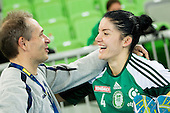 Tone Tiselj, head coach of Krim and Jovanka Radicevic of Gyori  after the handball match between RK Krim Mercator and Gyori Audi ETO KC (HUN) in 3rd Round of Group B of EHF Women's Champions League 2012/13 on October 28, 2012 in Arena Stozice, Ljubljana, Slovenia. Gyori defeated Krim Mercator 31-20. (Photo By Vid Ponikvar / Sportida)