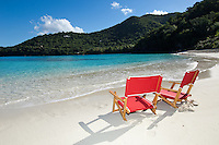 Red Beach Chairs at Hawksnest Beach.Virgin Islands National Park.St. John, US Virgin Islands
