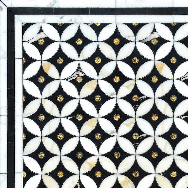 Ettienne Petite, a waterjet mosaic shown in polished Calacatta, 24 K Gold Glass, and honed Nero Marquina, is part of the Aurora™ Collection by Sara Baldwin for New Ravenna.