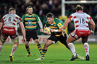 Ethan Waller of Northampton Saints in possession. Aviva Premiership match, between Northampton Saints and Gloucester Rugby on November 27, 2015 at Franklin's Gardens in Northampton, England. Photo by: Patrick Khachfe / JMP