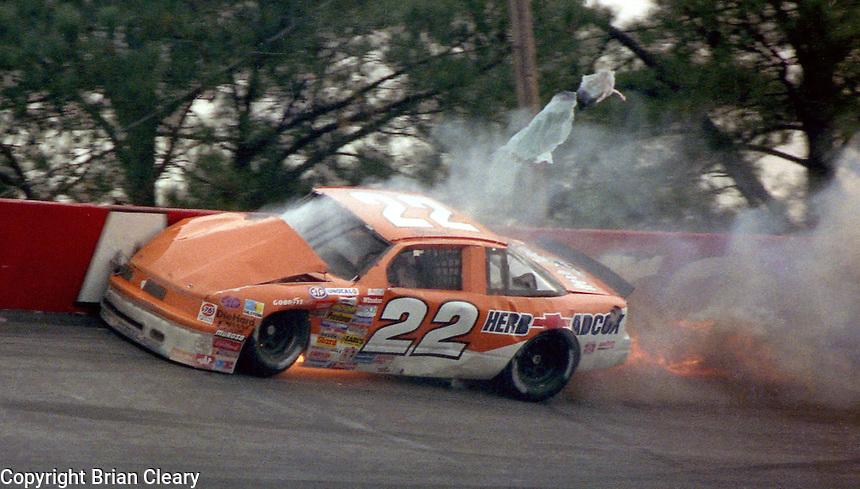 Grant Adcox hits wall turn 1 fatal crash Atlanta Journal 500 at Atlanta International Raceway in Hampton , GA on November 19, 1989.  (Photo by Brian Cleary/www.bcpix.com)