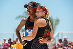 GULF SHORES, AL - MAY 07:  Abril Bustamante (10) and Joy Dennis (11) of the University of Southern California compete in the Division I Women's Beach Volleyball Championship held at Gulf Place on May 7, 2017 in Gulf Shores, Alabama.The University of Southern California defeated Pepperdine 3-2 to claim the national championship. (Photo by Stephen Nowland/NCAA Photos via Getty Images)