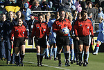 07 December 2008: Match Officials. From left: Assistant Referee Sandra Serafini, Fourth Official Rachel Woo, Referee George Vergara, Assistant Referee Misail Tsapos. The University of North Carolina Tar Heels defeated the Notre Dame Fighting Irish 2-1 at WakeMed Soccer Park in Cary, NC in the championship game of the 2008 NCAA Division I Women's College Cup.