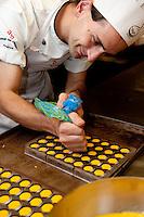 Preparation of hand crafted, artisan chocolate in the laboratory of Andrea Bianchini's 'La Bottega del Cioccolato' popular chocolate boutique in Santa Croce area of Florence, Italy.  Chef preparing saffron cream filled chocolates.