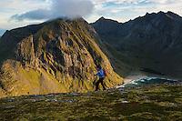 Female hiker hiking towards summit of Ryten with Kvalvika beach in background, Moskenesøy, Lofoten Islands, Norway