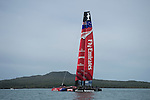 Emirates Team New Zealand's AC72 is towed out into the Hauraki Gulf for her first sail. 31/7/2012