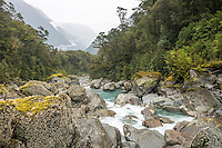 Upper Bowen Falls creek in Milford Sound, Fiordland National Park, Southland, World Heritage Area, New Zealand