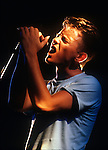 Bernard Sumner, New Order, Aug 1985, San Francisco. English group New Order combined post-punk and electronic dance, and became one of the most critically acclaimed and highly influential bands of the 1980s. New Order were formed in the wake of the demise of their previous group Joy Division.